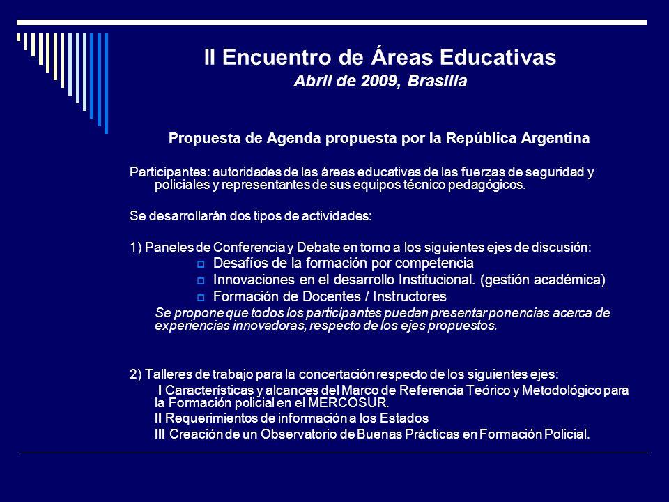 II Encuentro de Áreas Educativas Abril de 2009, Brasilia Propuesta de Agenda propuesta por la República Argentina Participantes: autoridades de las ár