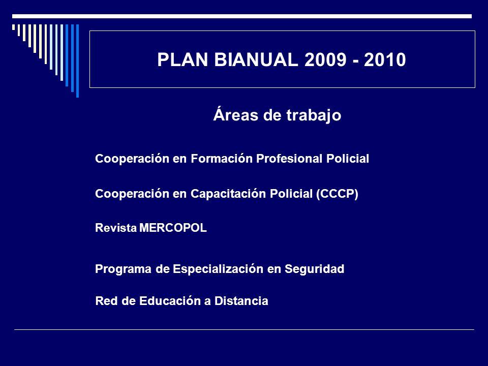 PLAN BIANUAL 2009 - 2010 Áreas de trabajo Cooperación en Formación Profesional Policial Cooperación en Capacitación Policial (CCCP) Revista MERCOPOL P