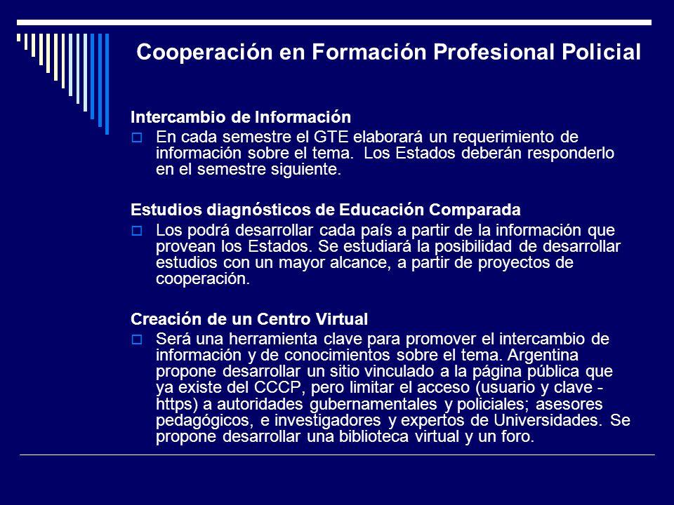 Cooperación en Formación Profesional Policial Intercambio de Información En cada semestre el GTE elaborará un requerimiento de información sobre el te