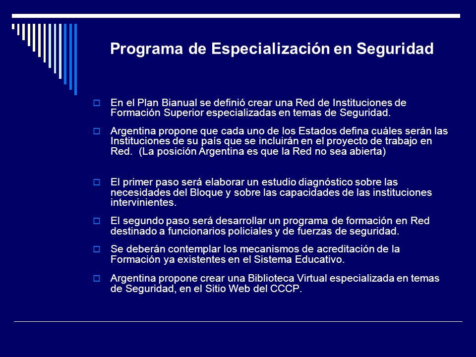 Programa de Especialización en Seguridad En el Plan Bianual se definió crear una Red de Instituciones de Formación Superior especializadas en temas de