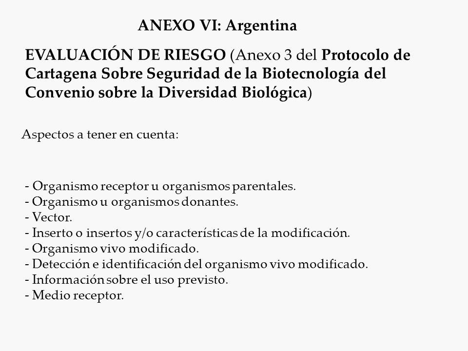 Aspectos a tener en cuenta: EVALUACIÓN DE RIESGO (Anexo 3 del Protocolo de Cartagena Sobre Seguridad de la Biotecnología del Convenio sobre la Diversidad Biológica) - Organismo receptor u organismos parentales.