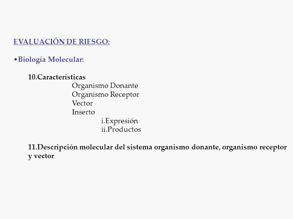 EVALUACIÓN DE RIESGO: Biología Molecular: 10.Características Organismo Donante Organismo Receptor Vector Inserto i.Expresión ii.Productos 11.Descripción molecular del sistema organismo donante, organismo receptor y vector
