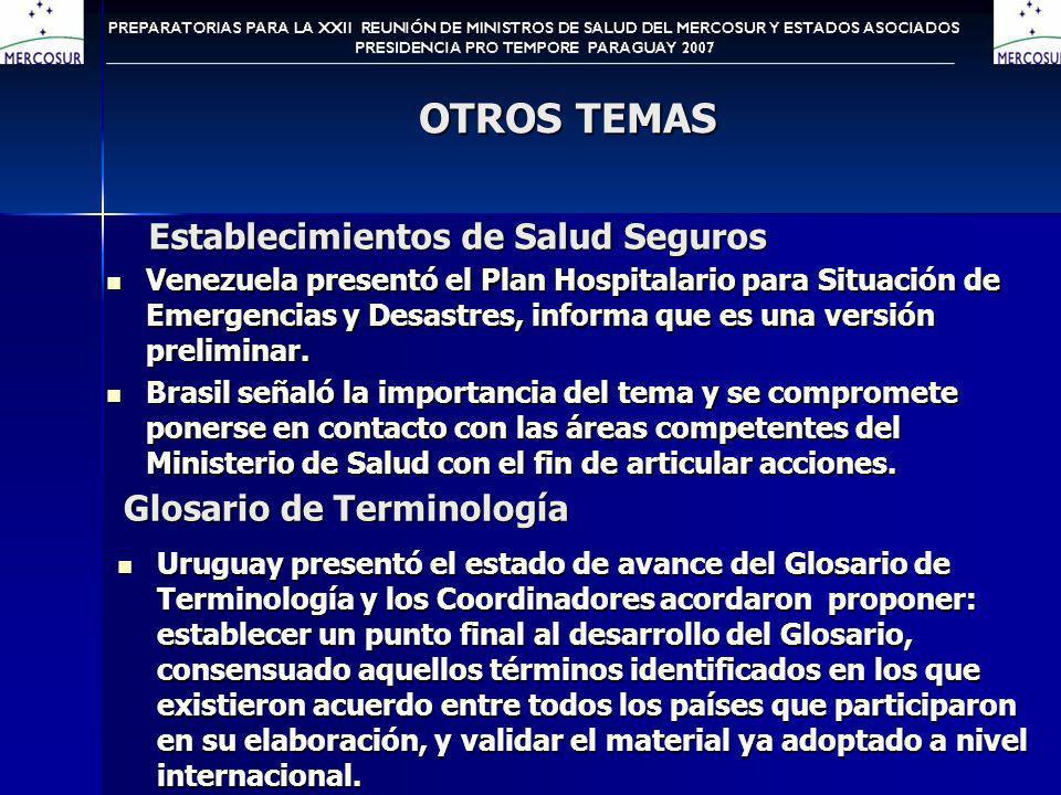 OTROS TEMAS Establecimientos de Salud Seguros Venezuela presentó el Plan Hospitalario para Situación de Emergencias y Desastres, informa que es una versión preliminar.