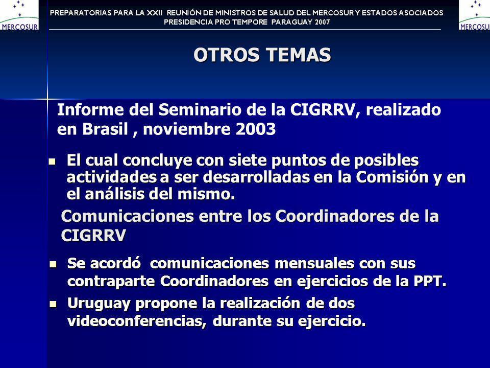OTROS TEMAS El cual concluye con siete puntos de posibles actividades a ser desarrolladas en la Comisión y en el análisis del mismo.