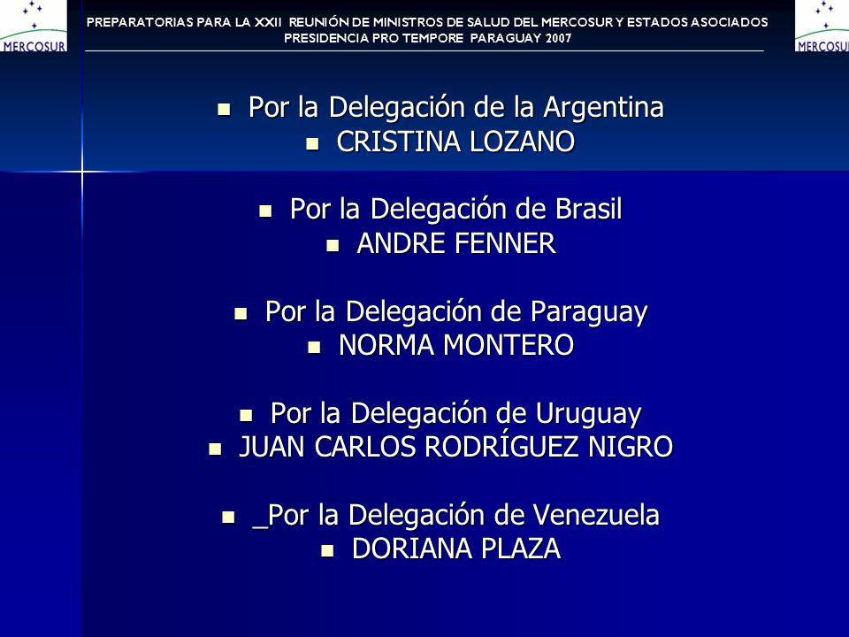 Por la Delegación de la Argentina Por la Delegación de la Argentina CRISTINA LOZANO CRISTINA LOZANO Por la Delegación de Brasil Por la Delegación de Brasil ANDRE FENNER ANDRE FENNER Por la Delegación de Paraguay Por la Delegación de Paraguay NORMA MONTERO NORMA MONTERO Por la Delegación de Uruguay Por la Delegación de Uruguay JUAN CARLOS RODRÍGUEZ NIGRO JUAN CARLOS RODRÍGUEZ NIGRO _Por la Delegación de Venezuela _Por la Delegación de Venezuela DORIANA PLAZA DORIANA PLAZA