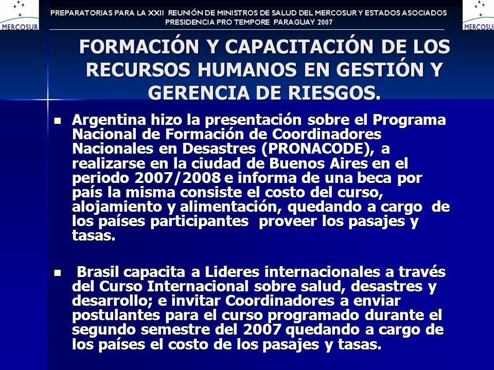 FORMACIÓN Y CAPACITACIÓN DE LOS RECURSOS HUMANOS EN GESTIÓN Y GERENCIA DE RIESGOS.