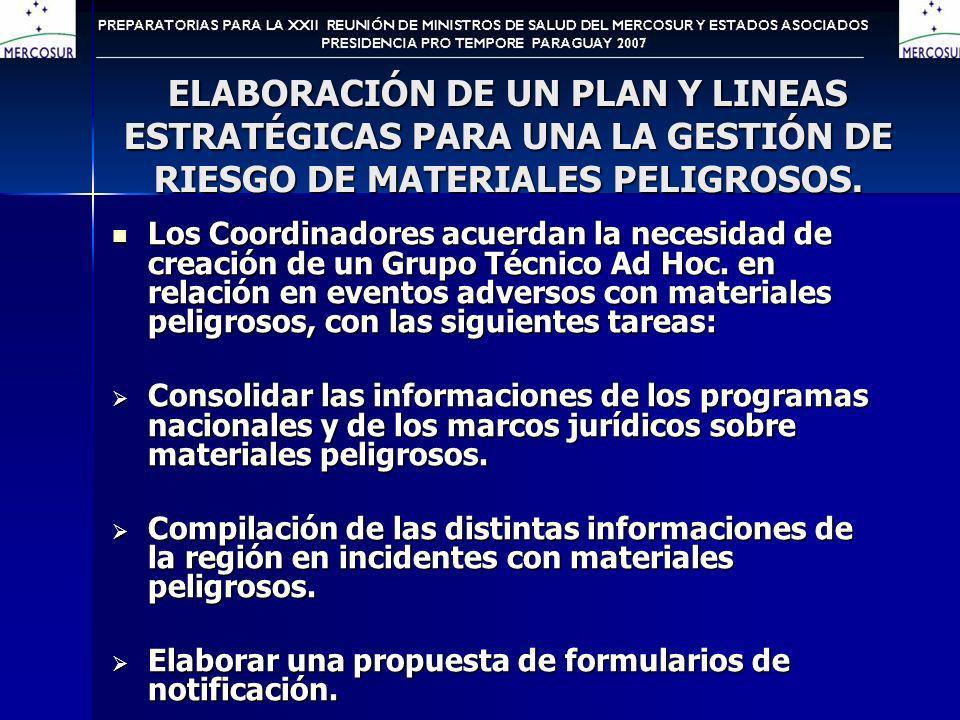 ELABORACIÓN DE UN PLAN Y LINEAS ESTRATÉGICAS PARA UNA LA GESTIÓN DE RIESGO DE MATERIALES PELIGROSOS.