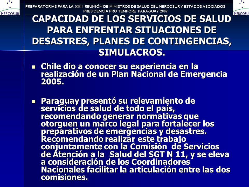 CAPACIDAD DE LOS SERVICIOS DE SALUD PARA ENFRENTAR SITUACIONES DE DESASTRES, PLANES DE CONTINGENCIAS, SIMULACROS.
