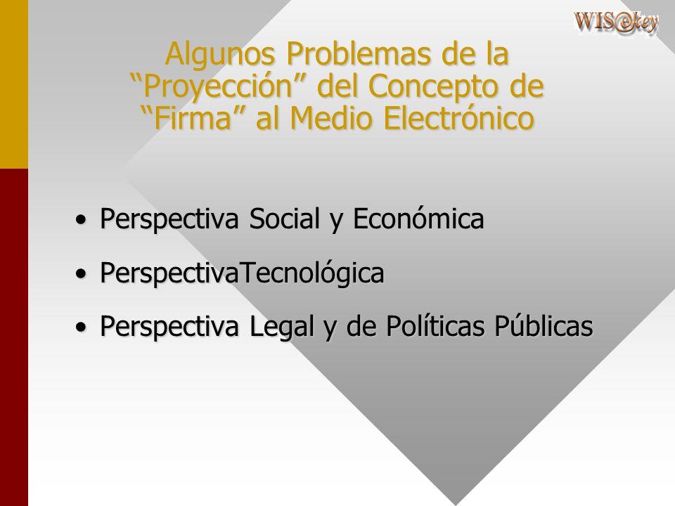 Algunos Problemas de la Proyección del Concepto de Firma al Medio Electrónico Perspectiva Social y EconómicaPerspectiva Social y Económica PerspectivaTecnológicaPerspectivaTecnológica Perspectiva Legal y de Políticas PúblicasPerspectiva Legal y de Políticas Públicas