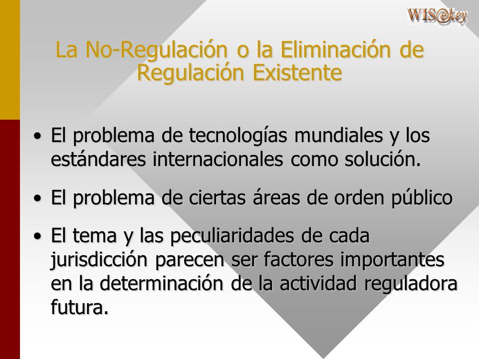 La No-Regulación o la Eliminación de Regulación Existente El problema de tecnologías mundiales y los estándares internacionales como solución.El probl