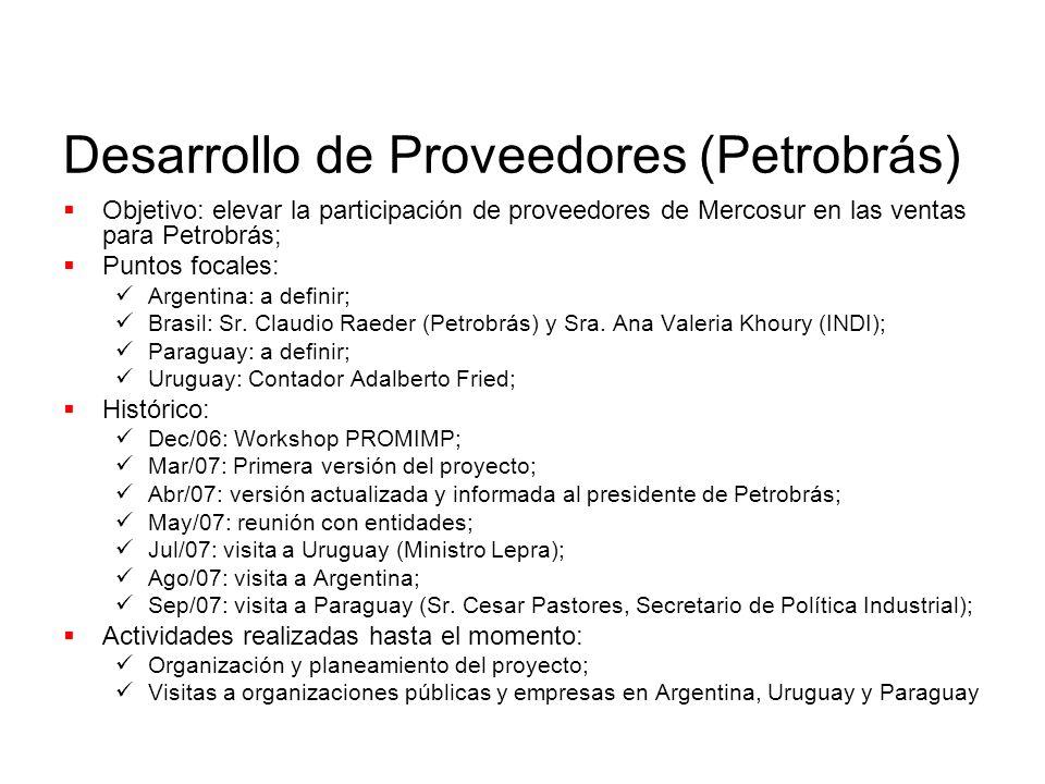 Desarrollo de Proveedores (Petrobrás) Objetivo: elevar la participación de proveedores de Mercosur en las ventas para Petrobrás; Puntos focales: Argentina: a definir; Brasil: Sr.