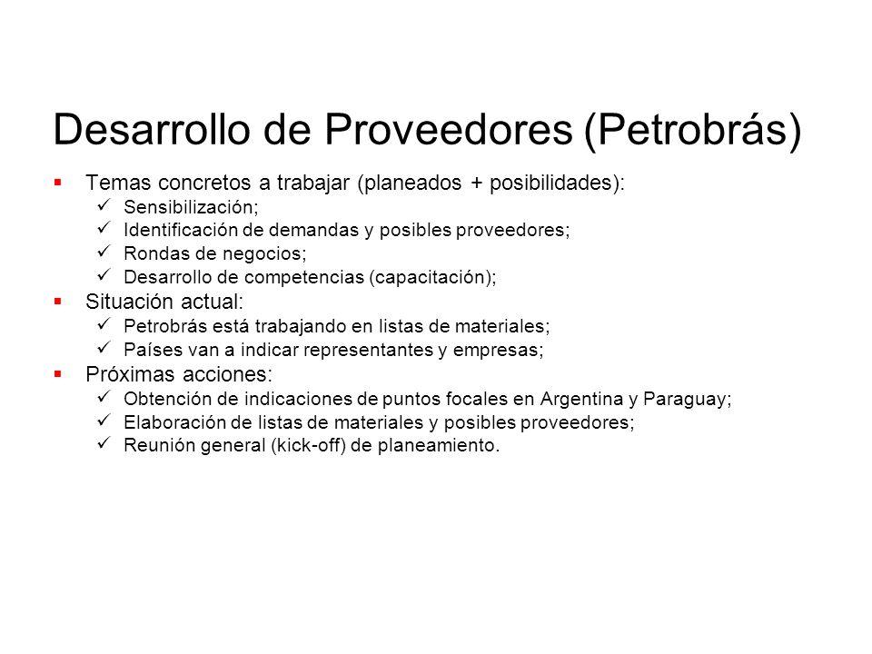 Desarrollo de Proveedores (Petrobrás) Temas concretos a trabajar (planeados + posibilidades): Sensibilización; Identificación de demandas y posibles proveedores; Rondas de negocios; Desarrollo de competencias (capacitación); Situación actual: Petrobrás está trabajando en listas de materiales; Países van a indicar representantes y empresas; Próximas acciones: Obtención de indicaciones de puntos focales en Argentina y Paraguay; Elaboración de listas de materiales y posibles proveedores; Reunión general (kick-off) de planeamiento.