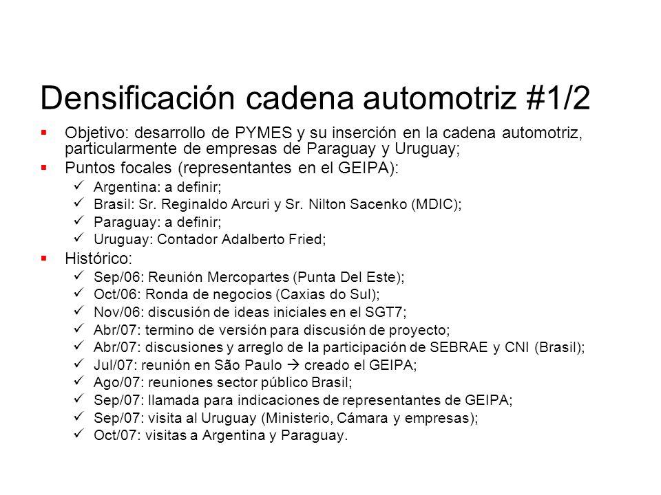 Densificación cadena automotriz #1/2 Objetivo: desarrollo de PYMES y su inserción en la cadena automotriz, particularmente de empresas de Paraguay y Uruguay; Puntos focales (representantes en el GEIPA): Argentina: a definir; Brasil: Sr.