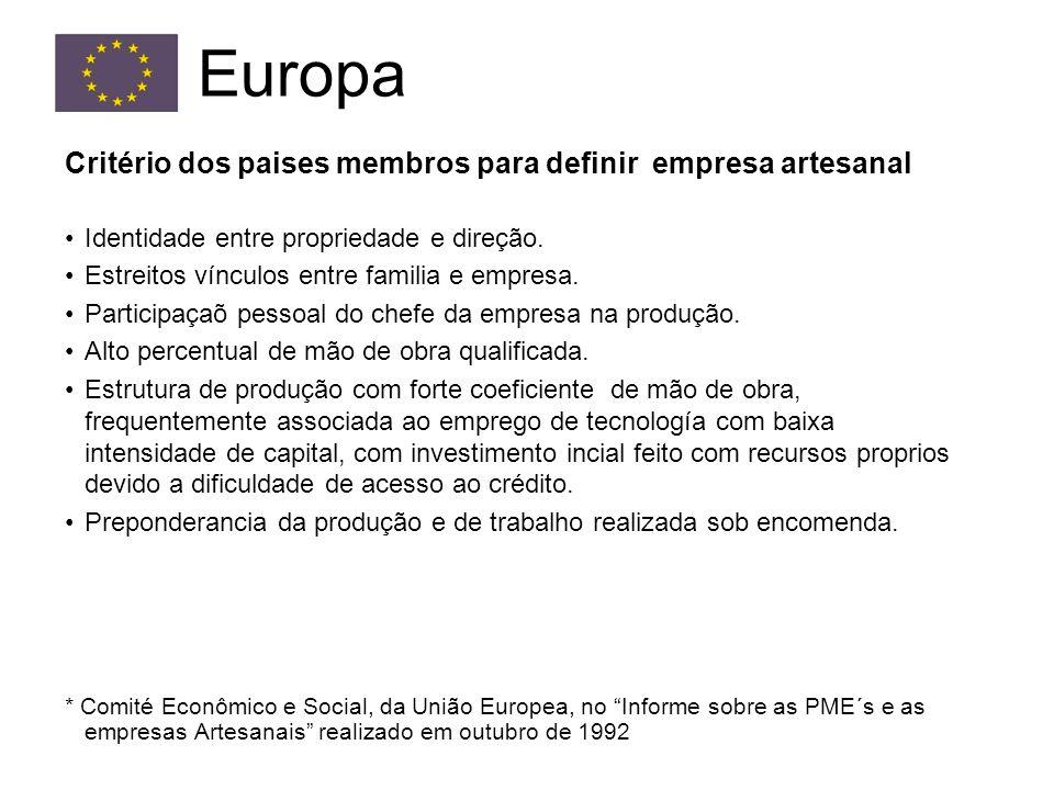 Critério dos paises membros para definir empresa artesanal Identidade entre propriedade e direção.