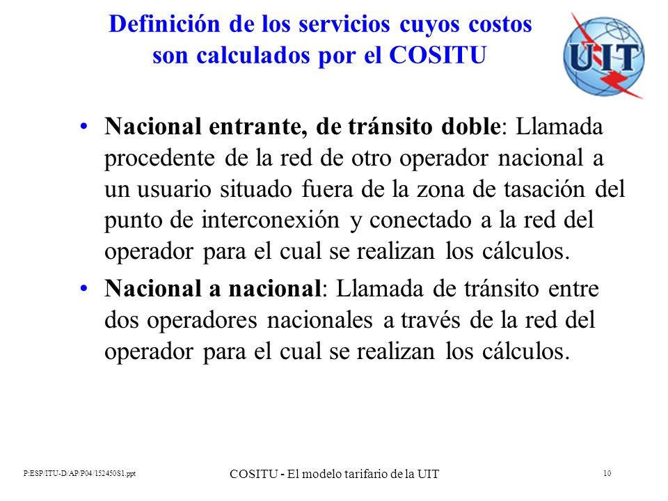 P:ESP/ITU-D/AP/P04/152450S1.ppt COSITU - El modelo tarifario de la UIT 10 Definición de los servicios cuyos costos son calculados por el COSITU Nacion