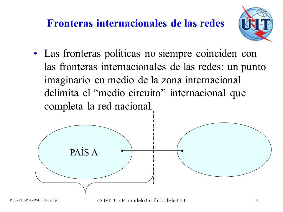 P:ESP/ITU-D/AP/P04/152450S1.ppt COSITU - El modelo tarifario de la UIT 11 Fronteras internacionales de las redes Las fronteras políticas no siempre co