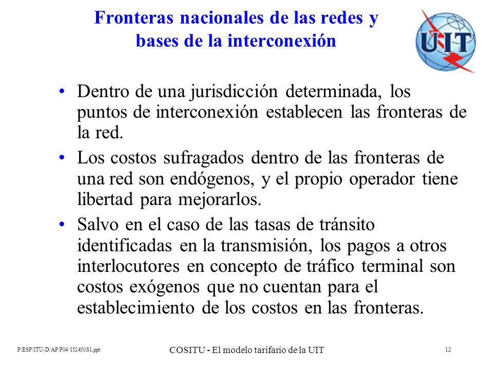 P:ESP/ITU-D/AP/P04/152450S1.ppt COSITU - El modelo tarifario de la UIT 12 Fronteras nacionales de las redes y bases de la interconexión Dentro de una