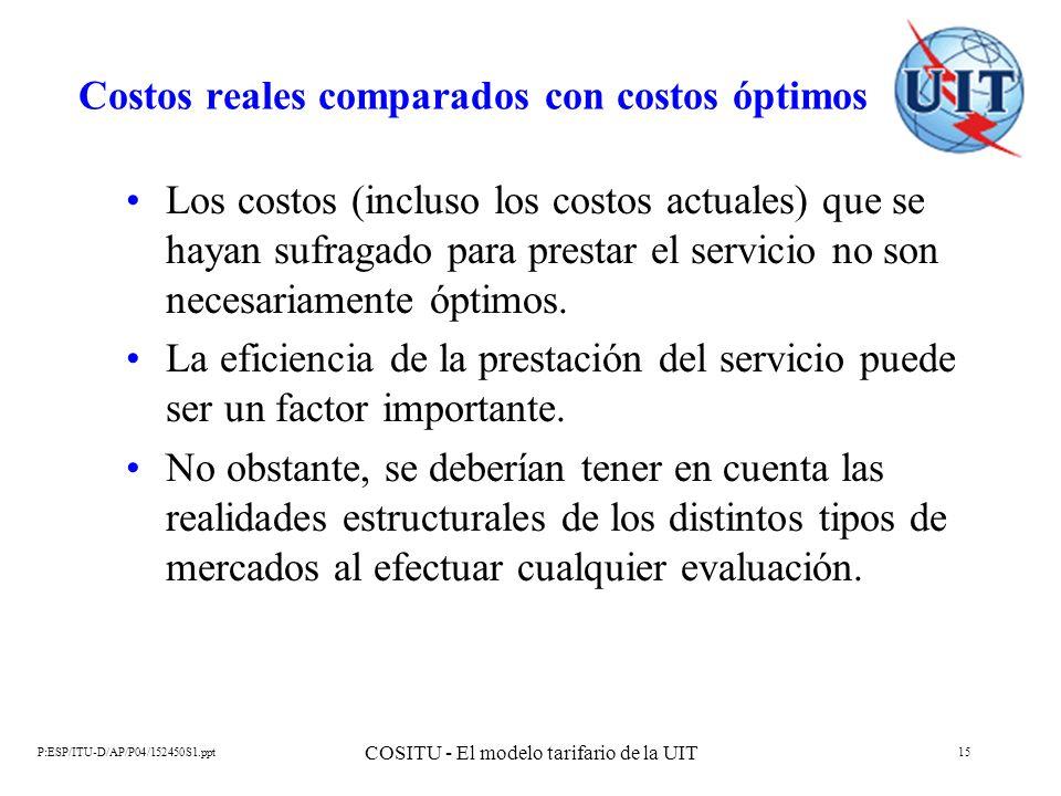 P:ESP/ITU-D/AP/P04/152450S1.ppt COSITU - El modelo tarifario de la UIT 15 Costos reales comparados con costos óptimos Los costos (incluso los costos a
