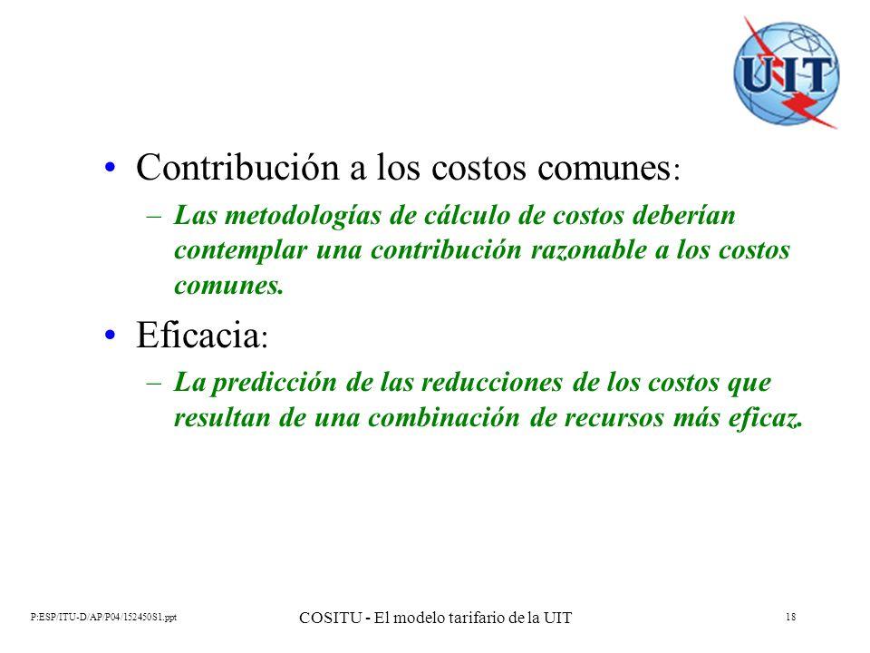 P:ESP/ITU-D/AP/P04/152450S1.ppt COSITU - El modelo tarifario de la UIT 18 Contribución a los costos comunes : –Las metodologías de cálculo de costos d