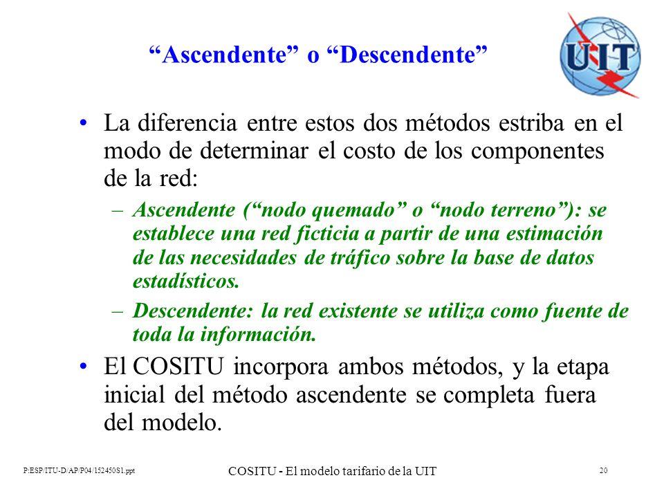 P:ESP/ITU-D/AP/P04/152450S1.ppt COSITU - El modelo tarifario de la UIT 20 Ascendente o Descendente La diferencia entre estos dos métodos estriba en el