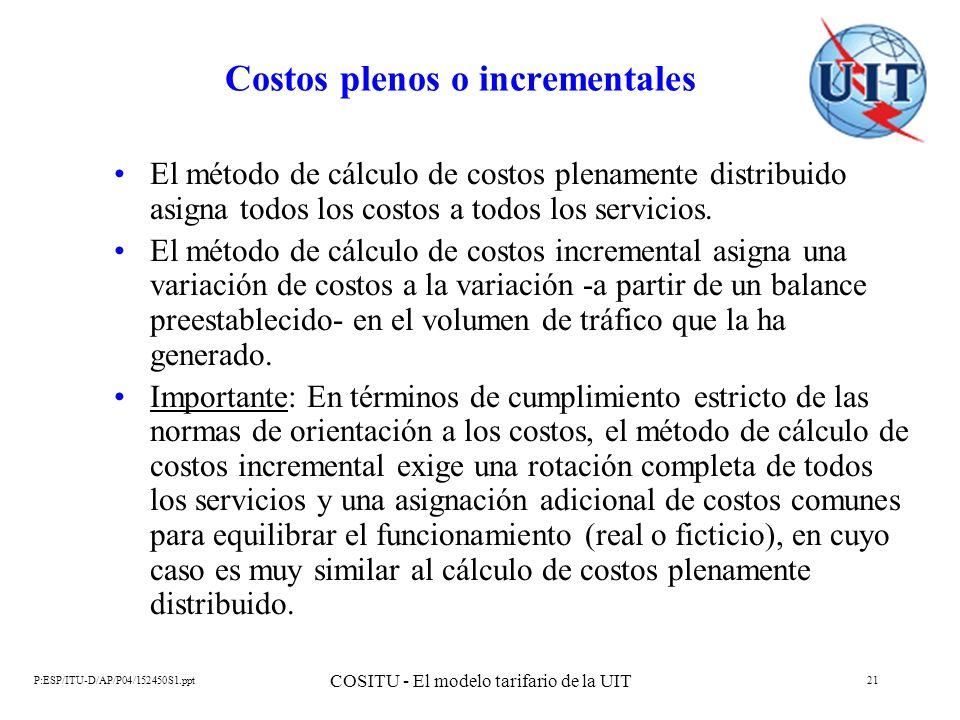 P:ESP/ITU-D/AP/P04/152450S1.ppt COSITU - El modelo tarifario de la UIT 21 Costos plenos o incrementales El método de cálculo de costos plenamente dist