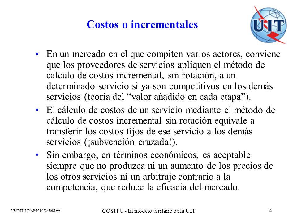 P:ESP/ITU-D/AP/P04/152450S1.ppt COSITU - El modelo tarifario de la UIT 22 Costos o incrementales En un mercado en el que compiten varios actores, conv