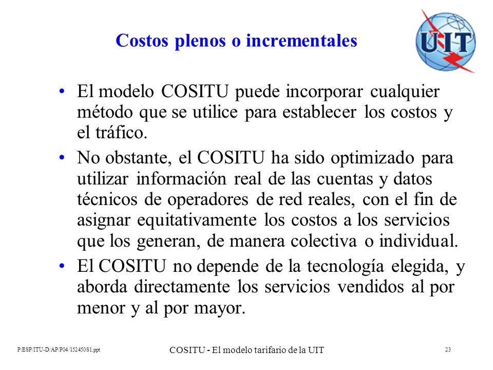 P:ESP/ITU-D/AP/P04/152450S1.ppt COSITU - El modelo tarifario de la UIT 23 Costos plenos o incrementales El modelo COSITU puede incorporar cualquier mé