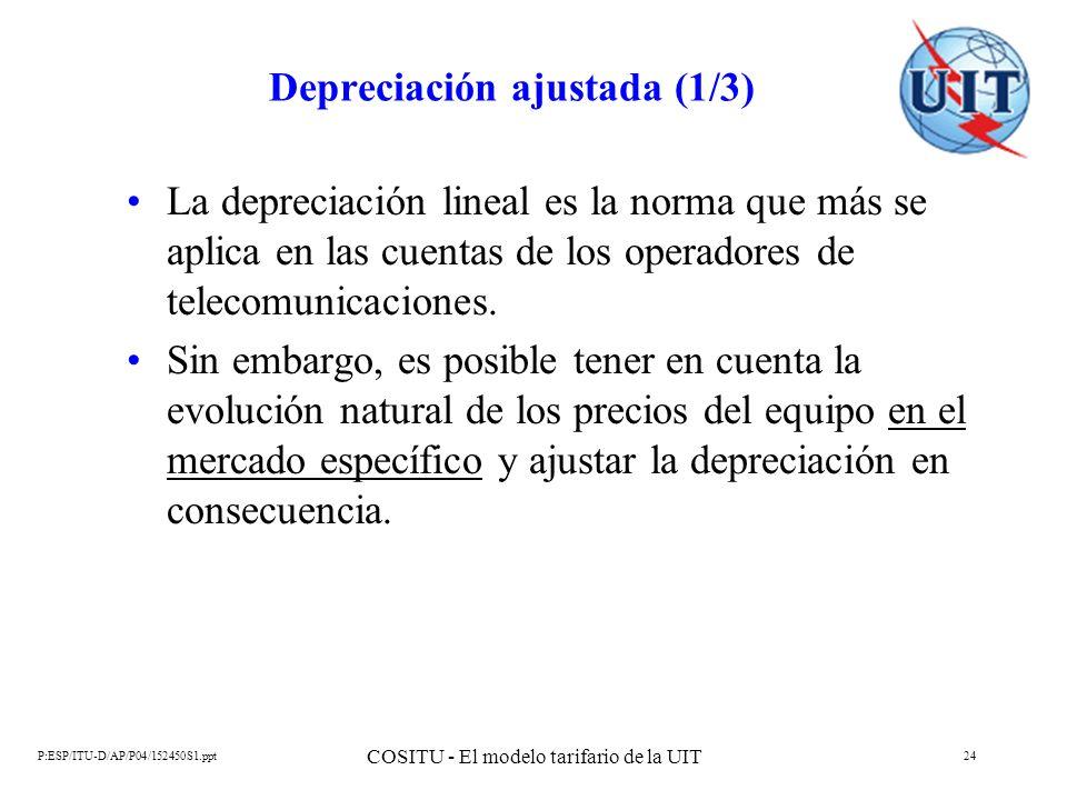 P:ESP/ITU-D/AP/P04/152450S1.ppt COSITU - El modelo tarifario de la UIT 24 Depreciación ajustada (1/3) La depreciación lineal es la norma que más se ap