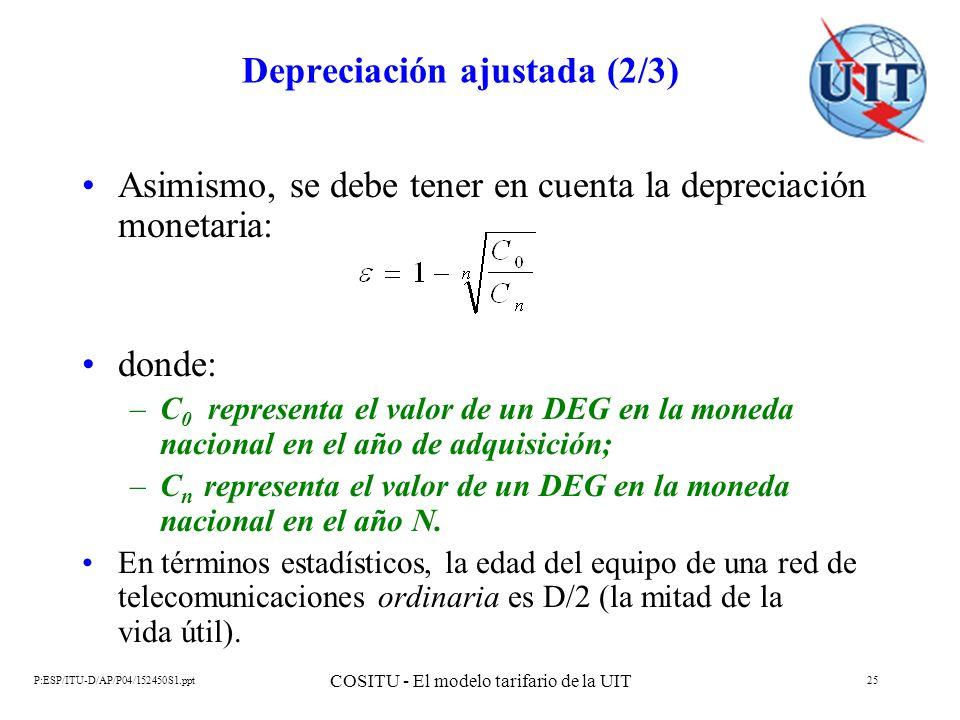 P:ESP/ITU-D/AP/P04/152450S1.ppt COSITU - El modelo tarifario de la UIT 25 Depreciación ajustada (2/3) Asimismo, se debe tener en cuenta la depreciació