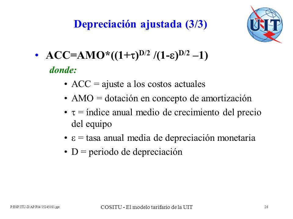 P:ESP/ITU-D/AP/P04/152450S1.ppt COSITU - El modelo tarifario de la UIT 26 Depreciación ajustada (3/3) ACC=AMO*((1+ ) D/2 /(1- ) D/2 –1) donde: ACC = a