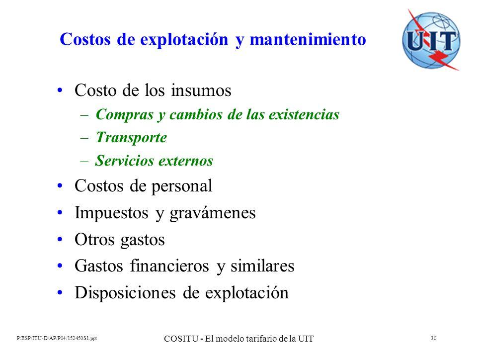 P:ESP/ITU-D/AP/P04/152450S1.ppt COSITU - El modelo tarifario de la UIT 30 Costos de explotación y mantenimiento Costo de los insumos –Compras y cambio