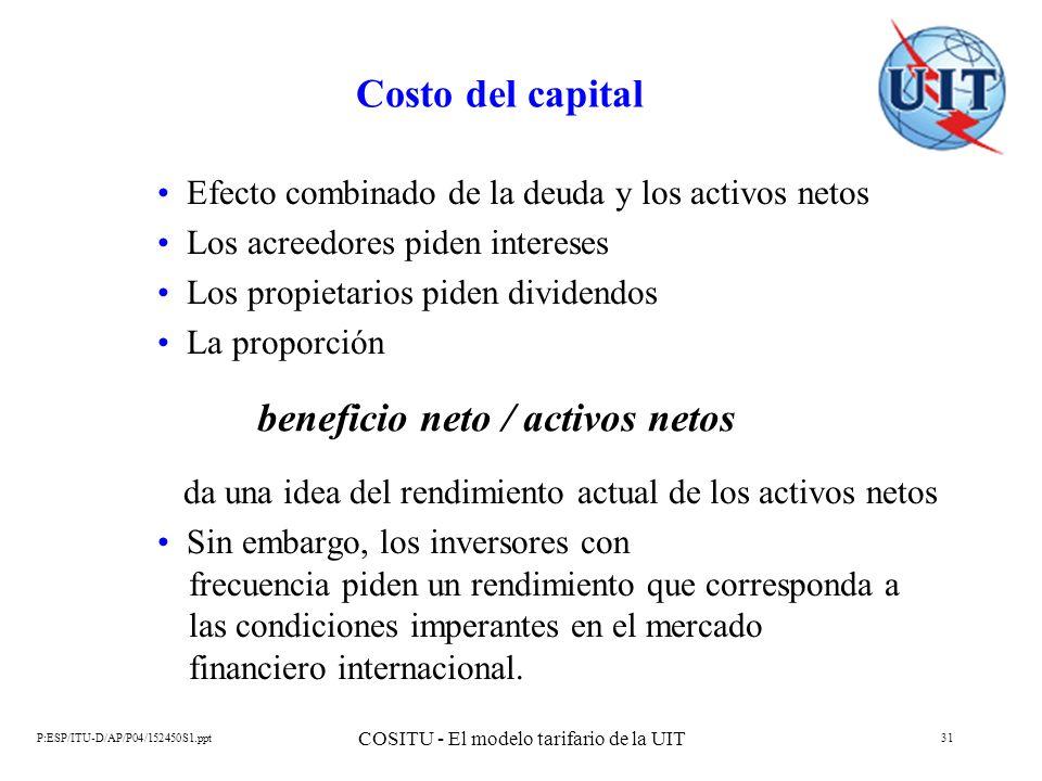P:ESP/ITU-D/AP/P04/152450S1.ppt COSITU - El modelo tarifario de la UIT 31 Costo del capital Efecto combinado de la deuda y los activos netos Los acree