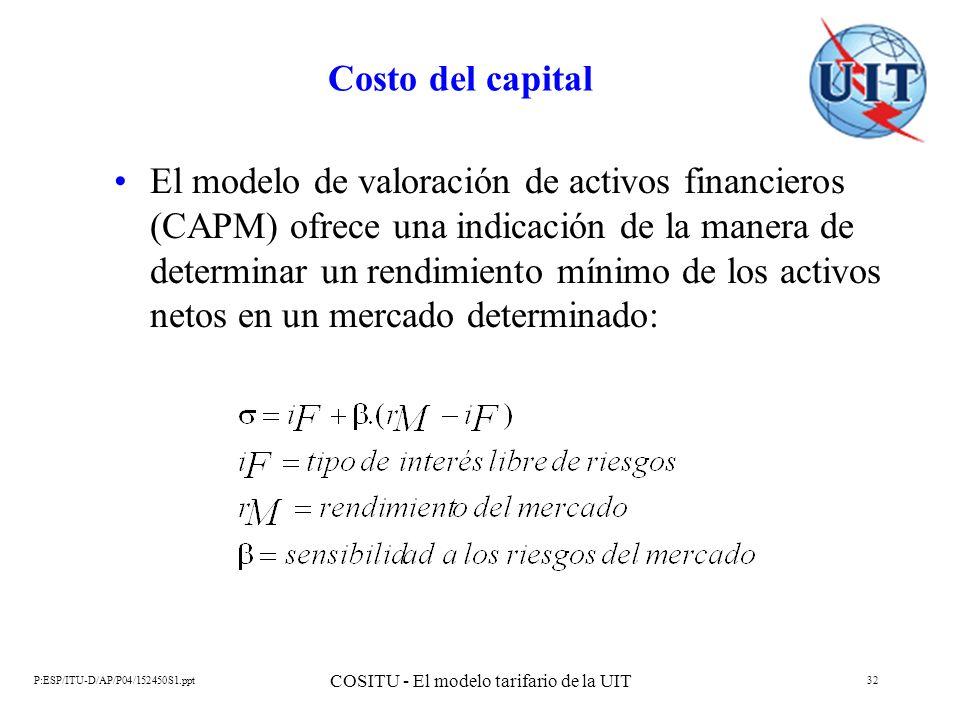P:ESP/ITU-D/AP/P04/152450S1.ppt COSITU - El modelo tarifario de la UIT 32 Costo del capital El modelo de valoración de activos financieros (CAPM) ofre