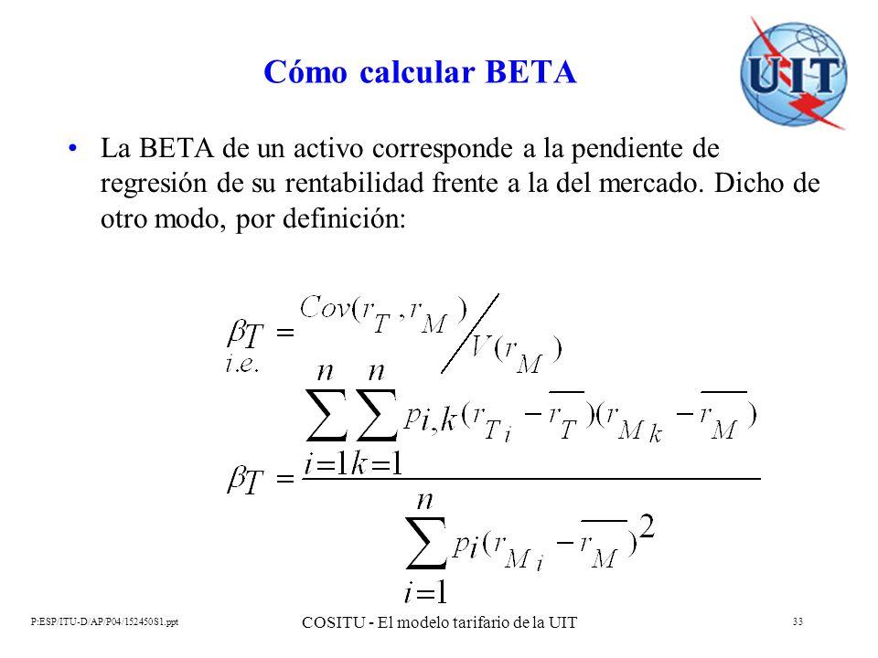 P:ESP/ITU-D/AP/P04/152450S1.ppt COSITU - El modelo tarifario de la UIT 33 Cómo calcular BETA La BETA de un activo corresponde a la pendiente de regres