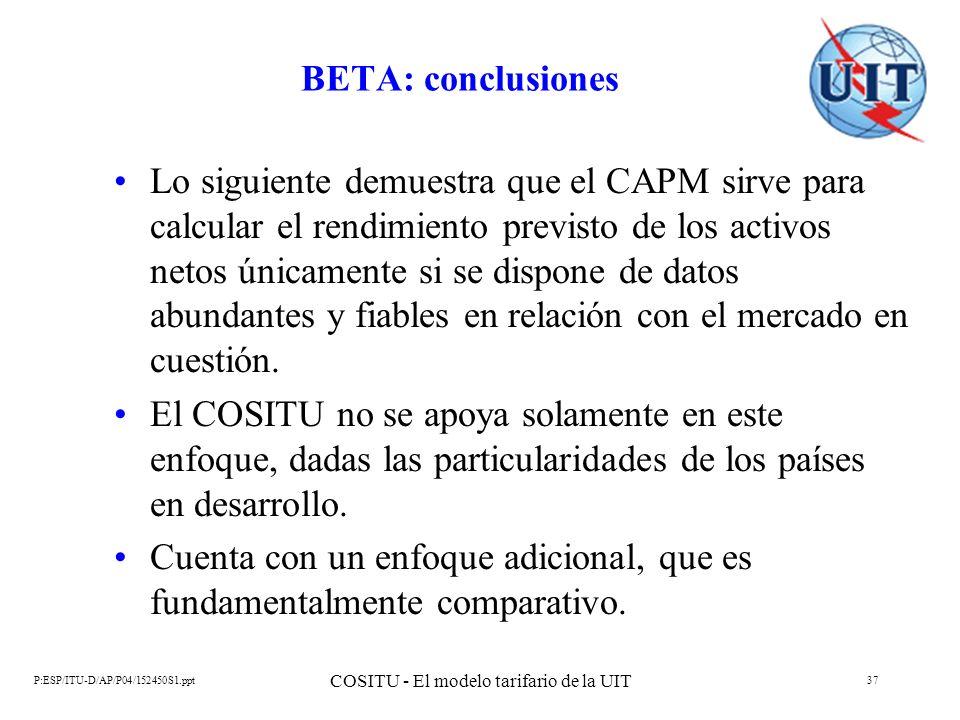 P:ESP/ITU-D/AP/P04/152450S1.ppt COSITU - El modelo tarifario de la UIT 37 BETA: conclusiones Lo siguiente demuestra que el CAPM sirve para calcular el
