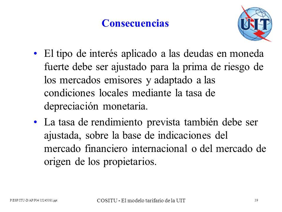 P:ESP/ITU-D/AP/P04/152450S1.ppt COSITU - El modelo tarifario de la UIT 39 Consecuencias El tipo de interés aplicado a las deudas en moneda fuerte debe