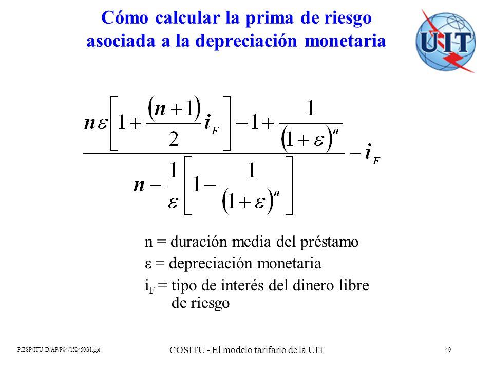 P:ESP/ITU-D/AP/P04/152450S1.ppt COSITU - El modelo tarifario de la UIT 40 Cómo calcular la prima de riesgo asociada a la depreciación monetaria n = du