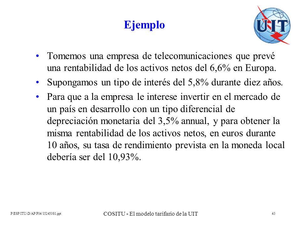 P:ESP/ITU-D/AP/P04/152450S1.ppt COSITU - El modelo tarifario de la UIT 43 Ejemplo Tomemos una empresa de telecomunicaciones que prevé una rentabilidad