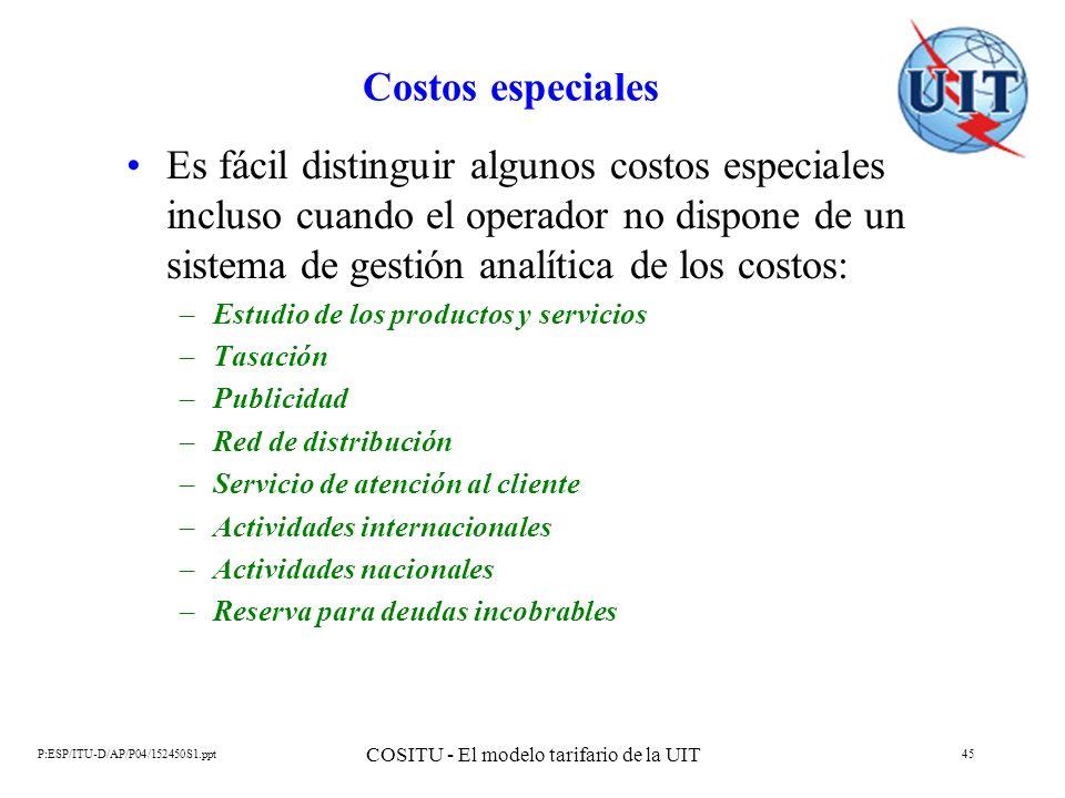 P:ESP/ITU-D/AP/P04/152450S1.ppt COSITU - El modelo tarifario de la UIT 45 Costos especiales Es fácil distinguir algunos costos especiales incluso cuan