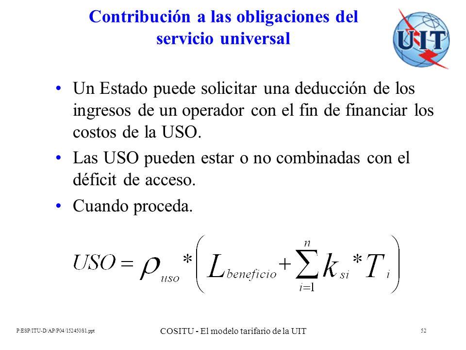 P:ESP/ITU-D/AP/P04/152450S1.ppt COSITU - El modelo tarifario de la UIT 52 Contribución a las obligaciones del servicio universal Un Estado puede solic