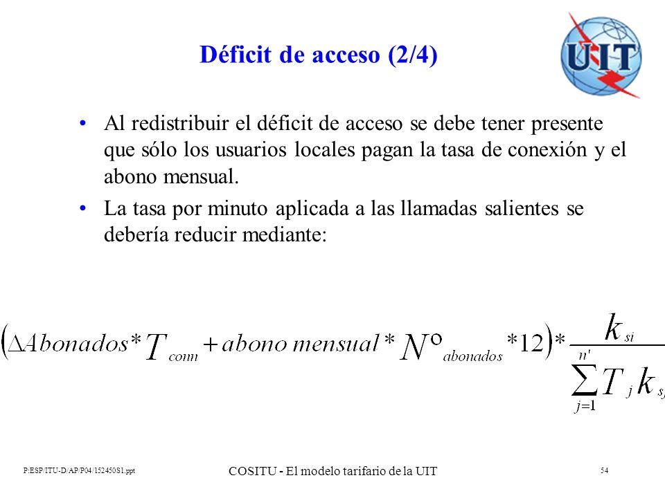 P:ESP/ITU-D/AP/P04/152450S1.ppt COSITU - El modelo tarifario de la UIT 54 Déficit de acceso (2/4) Al redistribuir el déficit de acceso se debe tener p