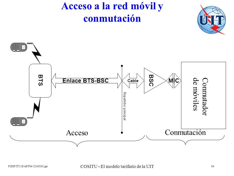 P:ESP/ITU-D/AP/P04/152450S1.ppt COSITU - El modelo tarifario de la UIT 64 Acceso a la red móvil y conmutación Conmutador de móviles BSC MIC BTS Enlace
