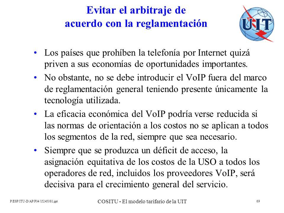 P:ESP/ITU-D/AP/P04/152450S1.ppt COSITU - El modelo tarifario de la UIT 69 Evitar el arbitraje de acuerdo con la reglamentación Los países que prohíben