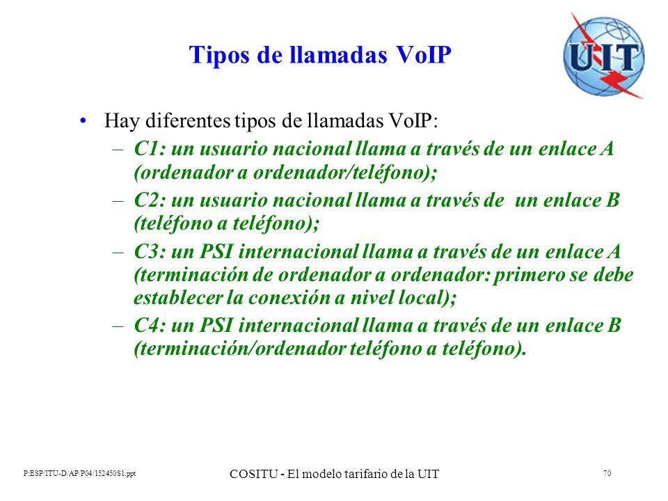 P:ESP/ITU-D/AP/P04/152450S1.ppt COSITU - El modelo tarifario de la UIT 70 Tipos de llamadas VoIP Hay diferentes tipos de llamadas VoIP: –C1: un usuari