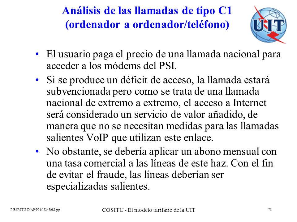 P:ESP/ITU-D/AP/P04/152450S1.ppt COSITU - El modelo tarifario de la UIT 73 Análisis de las llamadas de tipo C1 (ordenador a ordenador/teléfono) El usua