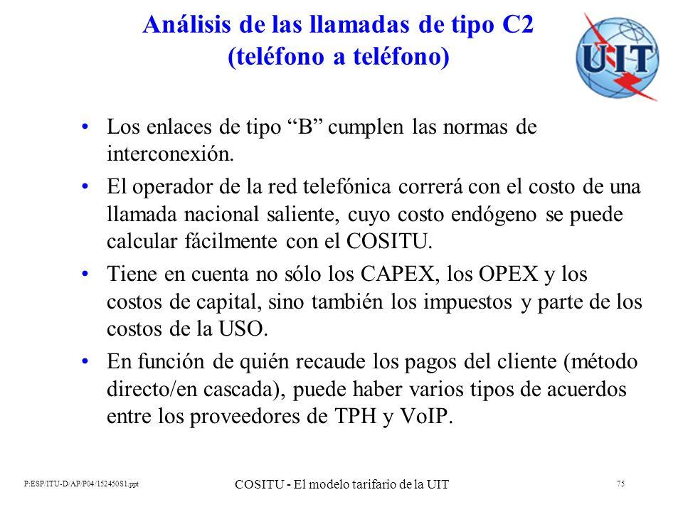 P:ESP/ITU-D/AP/P04/152450S1.ppt COSITU - El modelo tarifario de la UIT 75 Análisis de las llamadas de tipo C2 (teléfono a teléfono) Los enlaces de tip