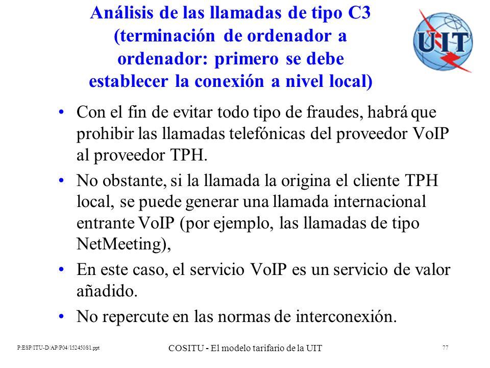 P:ESP/ITU-D/AP/P04/152450S1.ppt COSITU - El modelo tarifario de la UIT 77 Análisis de las llamadas de tipo C3 (terminación de ordenador a ordenador: p