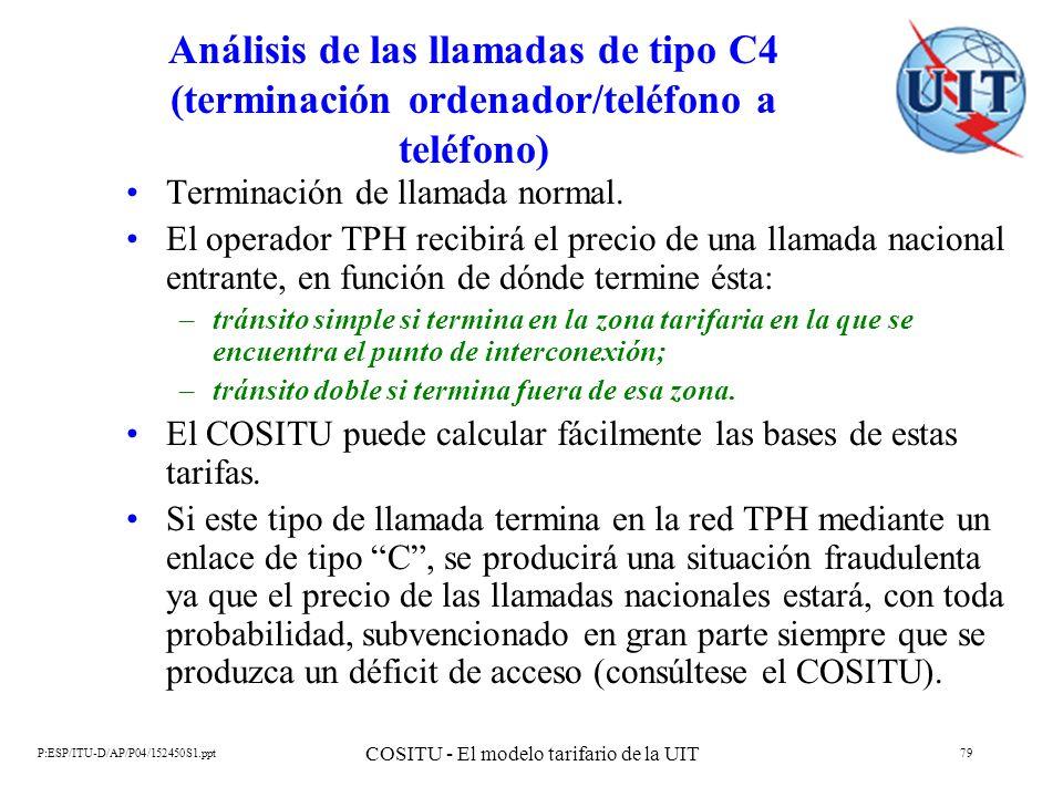 P:ESP/ITU-D/AP/P04/152450S1.ppt COSITU - El modelo tarifario de la UIT 79 Análisis de las llamadas de tipo C4 (terminación ordenador/teléfono a teléfo