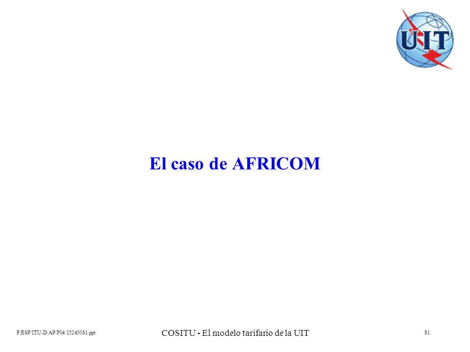 P:ESP/ITU-D/AP/P04/152450S1.ppt COSITU - El modelo tarifario de la UIT 81 El caso de AFRICOM