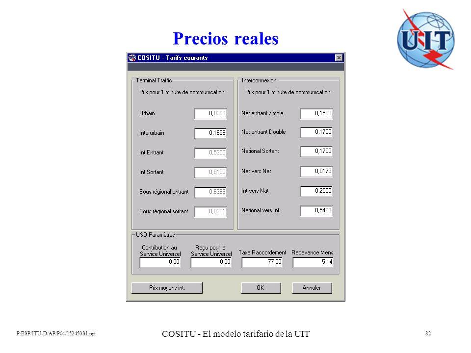 P:ESP/ITU-D/AP/P04/152450S1.ppt COSITU - El modelo tarifario de la UIT 82 Precios reales